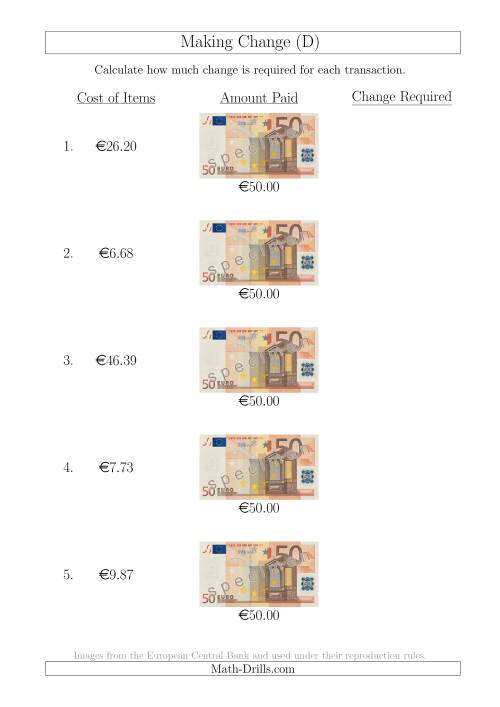 The Making Change from 50 Euro Notes (D) Math Worksheet