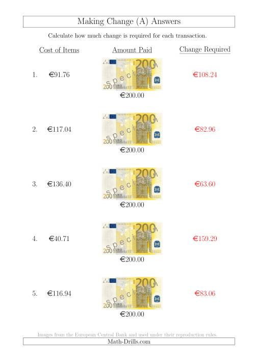 The Making Change from 200 Euro Notes (A) Math Worksheet Page 2