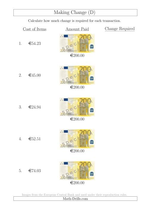 The Making Change from 200 Euro Notes (D) Math Worksheet