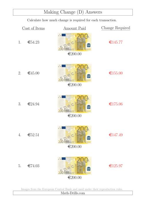 The Making Change from 200 Euro Notes (D) Math Worksheet Page 2