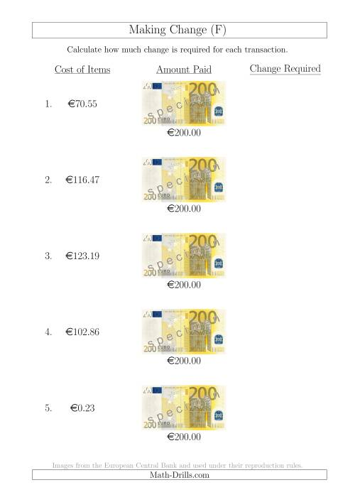 The Making Change from 200 Euro Notes (F) Math Worksheet