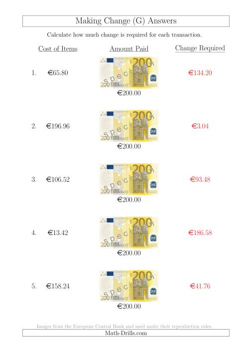 The Making Change from 200 Euro Notes (G) Math Worksheet Page 2
