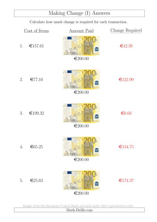 The Making Change from 200 Euro Notes (I) Math Worksheet Page 2