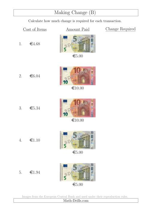 The Making Change from Euro Notes up to €10 (B) Math Worksheet