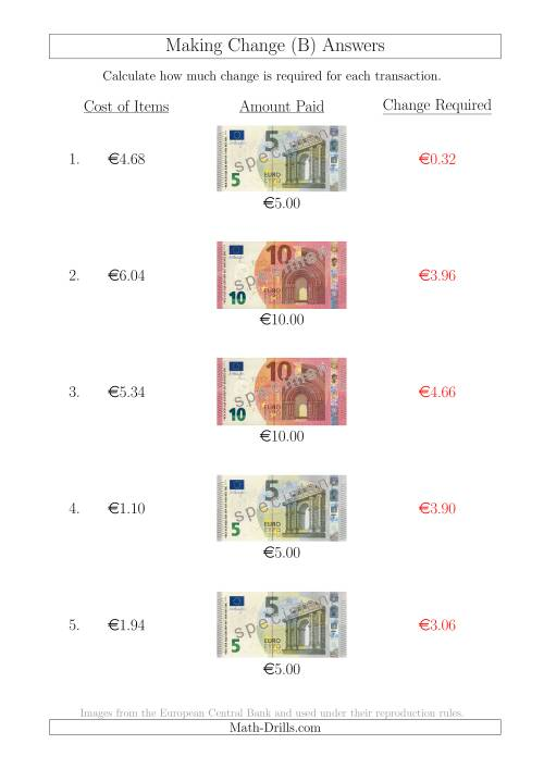 The Making Change from Euro Notes up to €10 (B) Math Worksheet Page 2