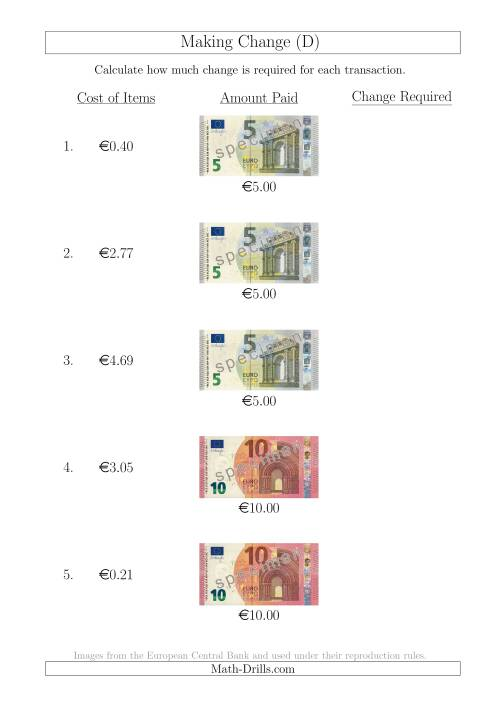 The Making Change from Euro Notes up to €10 (D) Math Worksheet