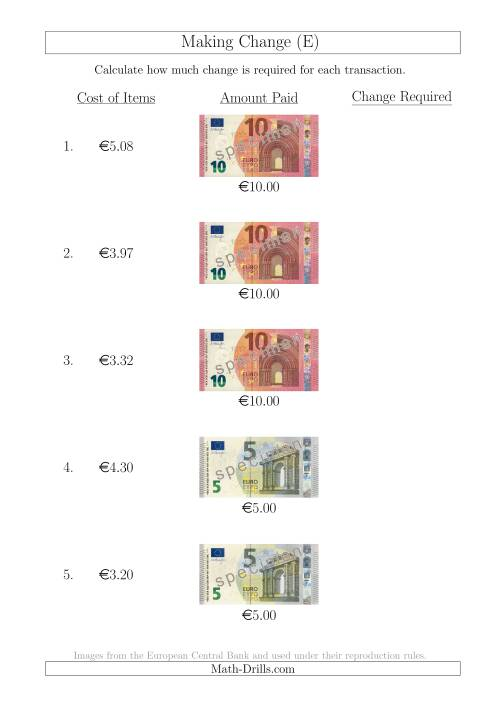 The Making Change from Euro Notes up to €10 (E) Math Worksheet