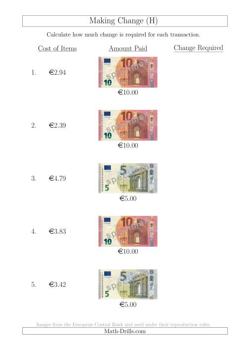 The Making Change from Euro Notes up to €10 (H) Math Worksheet