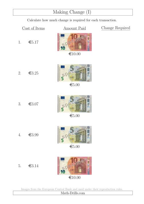 The Making Change from Euro Notes up to €10 (I) Math Worksheet