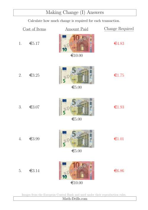 The Making Change from Euro Notes up to €10 (I) Math Worksheet Page 2