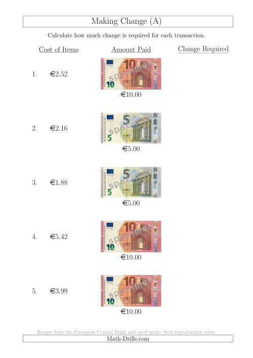 The Making Change from Euro Notes up to €10 (All) Math Worksheet