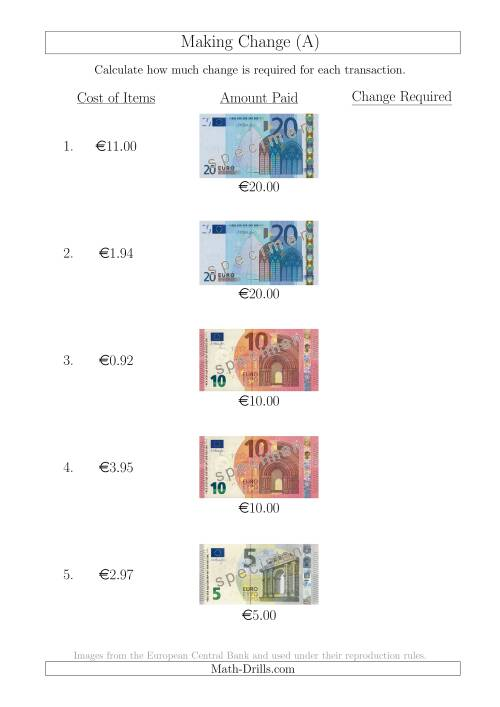 The Making Change from Euro Notes up to €20 (A) Math Worksheet