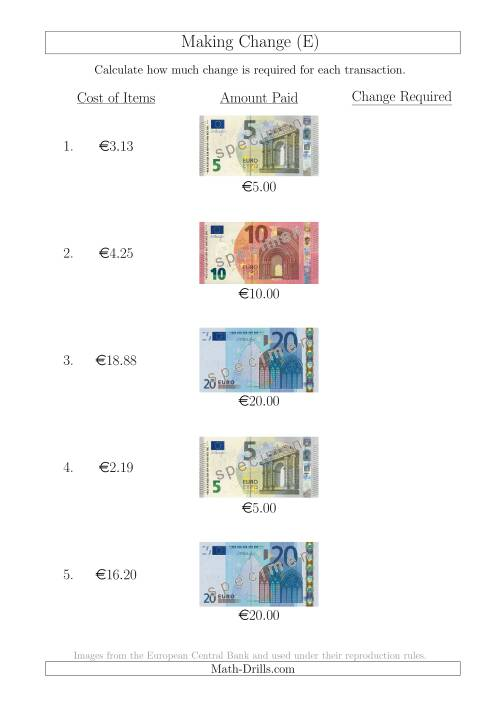The Making Change from Euro Notes up to €20 (E) Math Worksheet