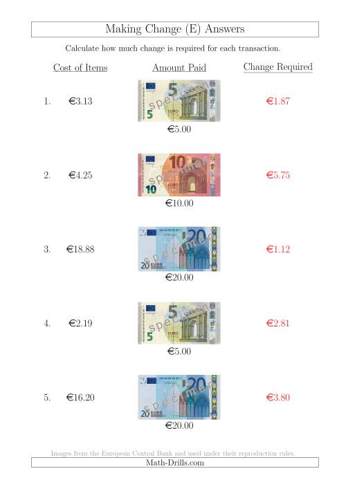 The Making Change from Euro Notes up to €20 (E) Math Worksheet Page 2