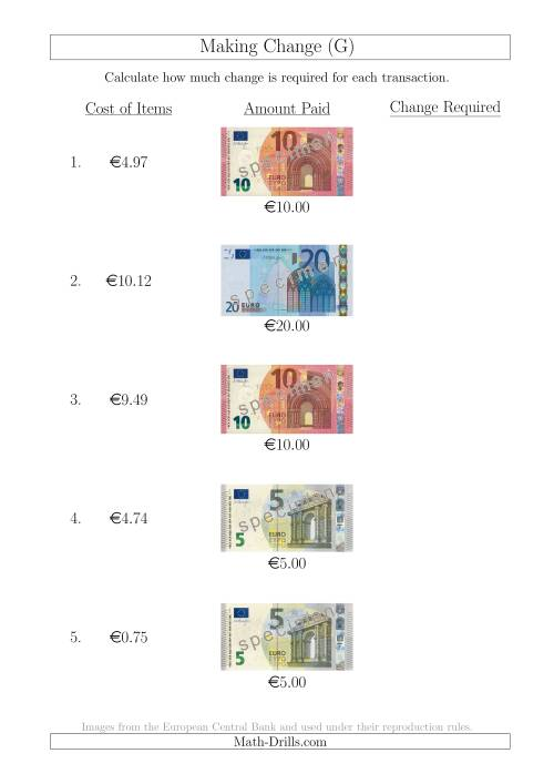 The Making Change from Euro Notes up to €20 (G) Math Worksheet