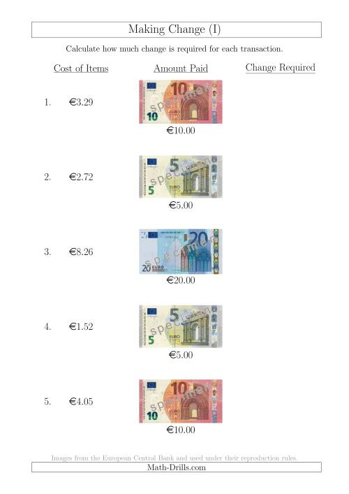 The Making Change from Euro Notes up to €20 (I) Math Worksheet