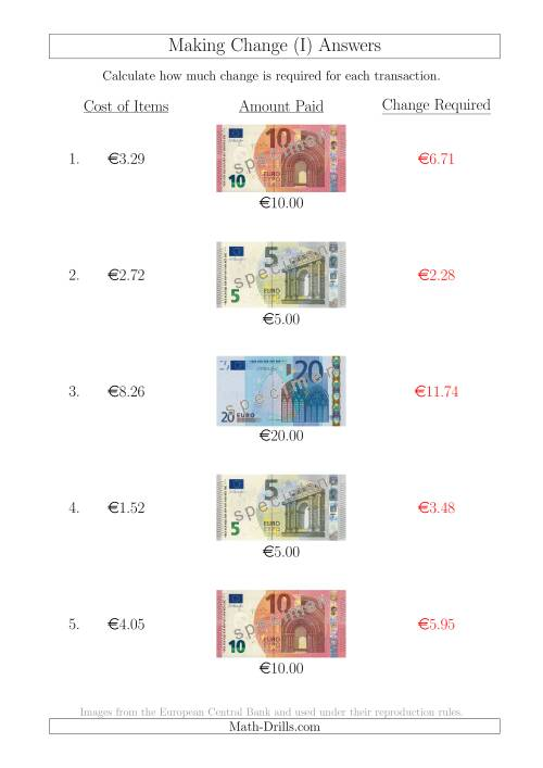 The Making Change from Euro Notes up to €20 (I) Math Worksheet Page 2