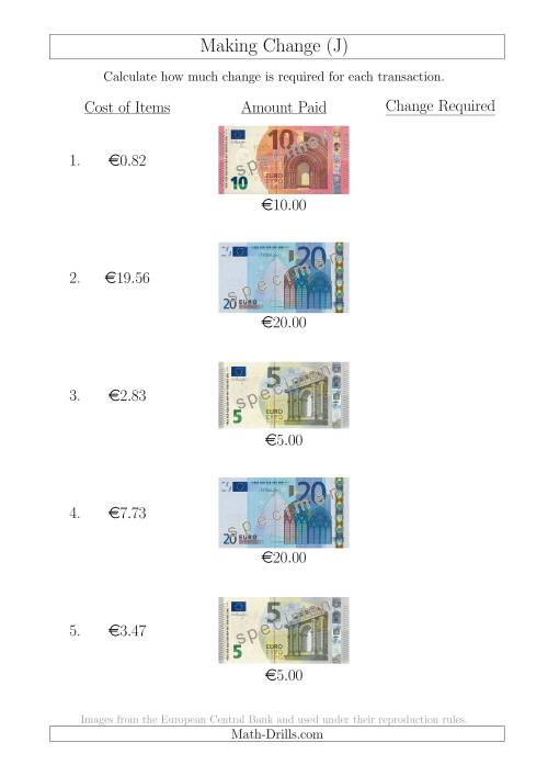 The Making Change from Euro Notes up to €20 (J) Math Worksheet