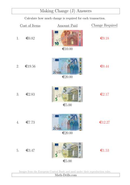 The Making Change from Euro Notes up to €20 (J) Math Worksheet Page 2