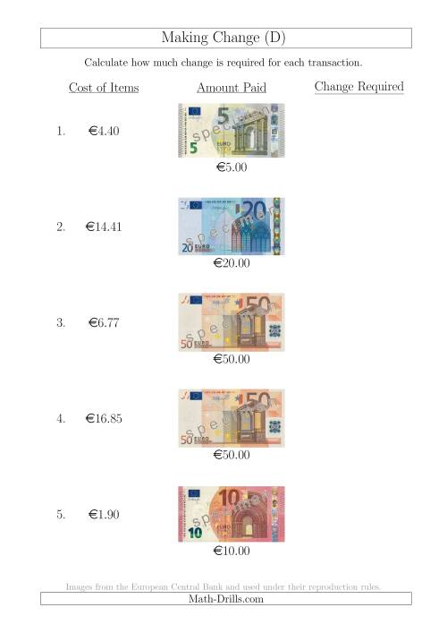 The Making Change from Euro Notes up to €50 (D) Math Worksheet