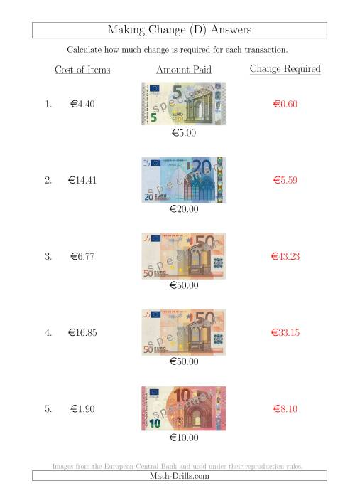 The Making Change from Euro Notes up to €50 (D) Math Worksheet Page 2