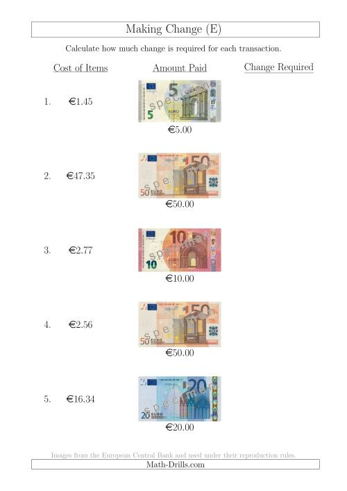 The Making Change from Euro Notes up to €50 (E) Math Worksheet