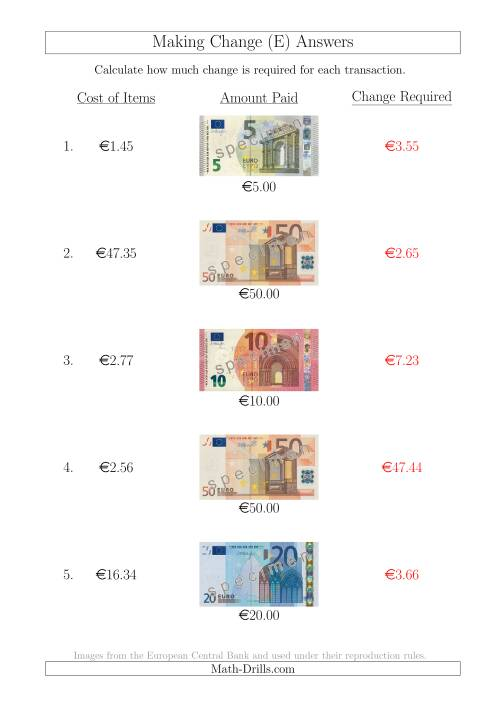 The Making Change from Euro Notes up to €50 (E) Math Worksheet Page 2