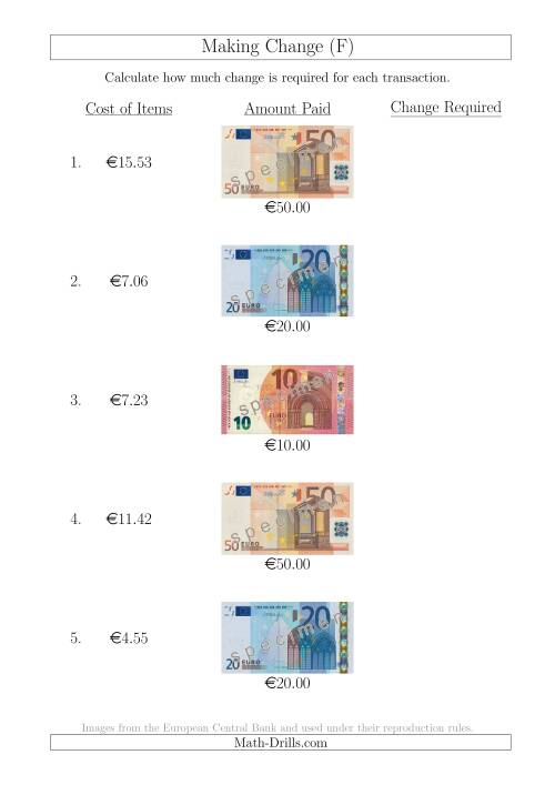 The Making Change from Euro Notes up to €50 (F) Math Worksheet