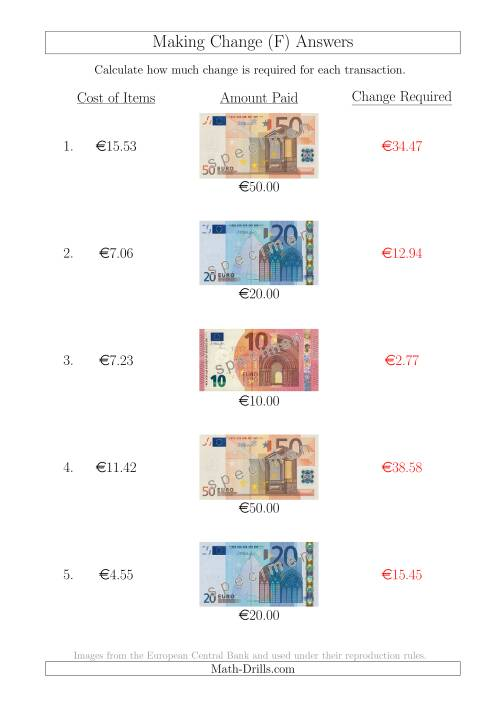 The Making Change from Euro Notes up to €50 (F) Math Worksheet Page 2