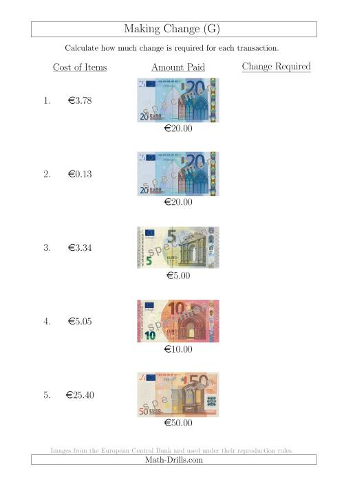 The Making Change from Euro Notes up to €50 (G) Math Worksheet
