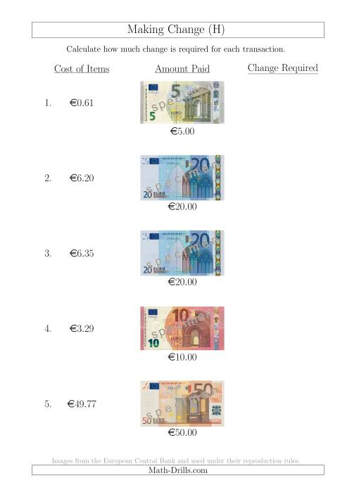 The Making Change from Euro Notes up to €50 (H) Math Worksheet