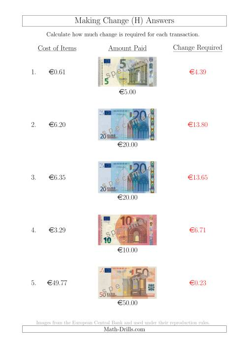The Making Change from Euro Notes up to €50 (H) Math Worksheet Page 2