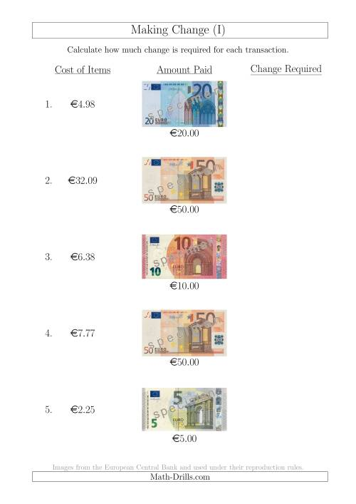 The Making Change from Euro Notes up to €50 (I) Math Worksheet