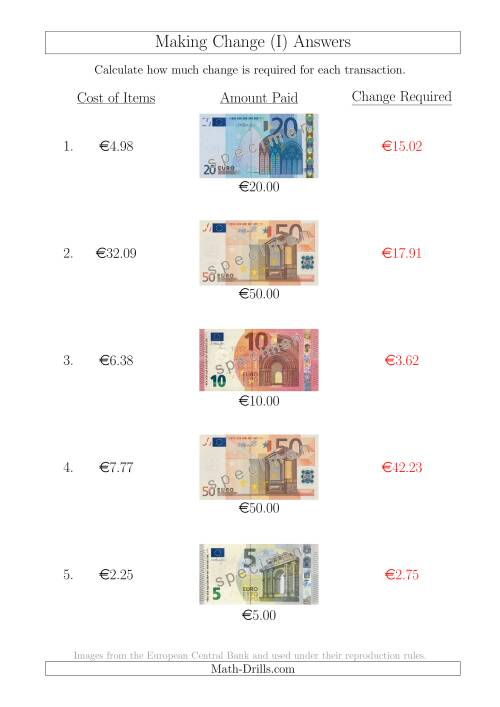 The Making Change from Euro Notes up to €50 (I) Math Worksheet Page 2