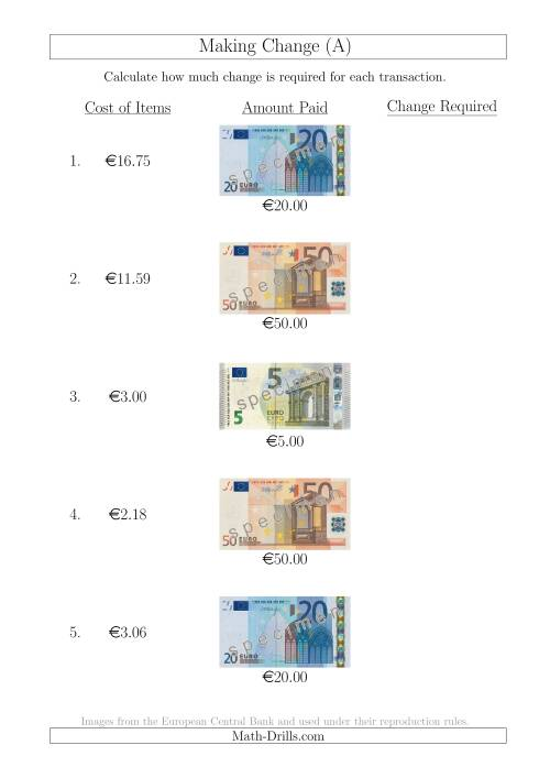 The Making Change from Euro Notes up to €50 (All) Math Worksheet