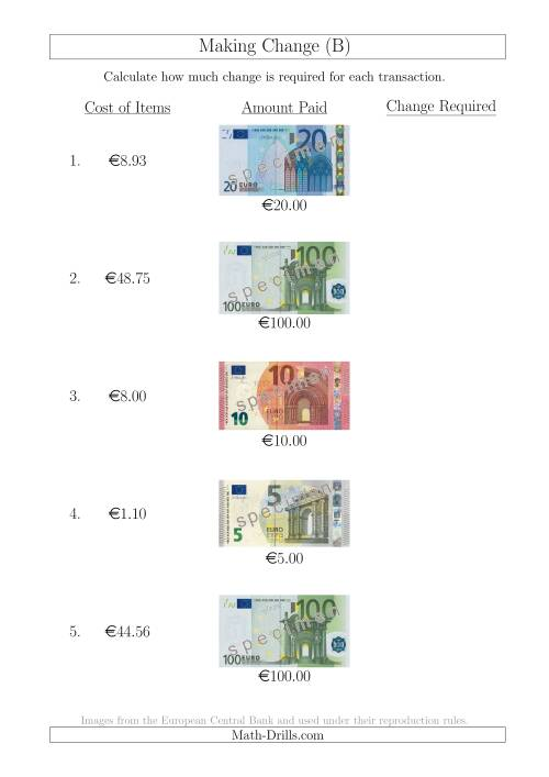 The Making Change from Euro Notes up to €100 (B) Math Worksheet