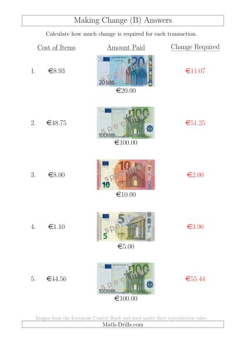 The Making Change from Euro Notes up to €100 (B) Math Worksheet Page 2