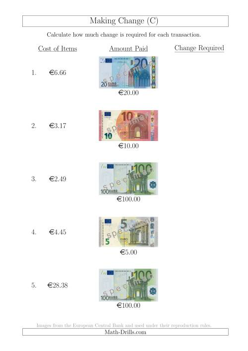 The Making Change from Euro Notes up to €100 (C) Math Worksheet