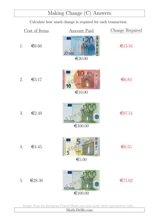 The Making Change from Euro Notes up to €100 (C) Math Worksheet Page 2