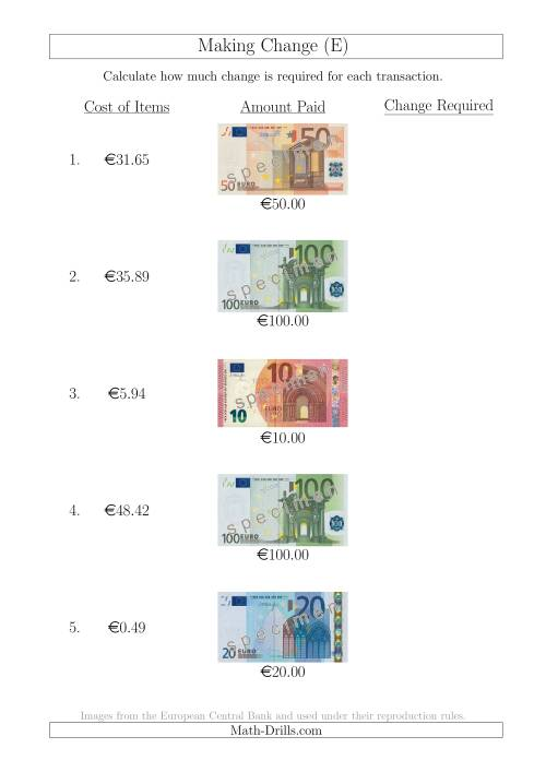 The Making Change from Euro Notes up to €100 (E) Math Worksheet
