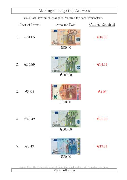 The Making Change from Euro Notes up to €100 (E) Math Worksheet Page 2