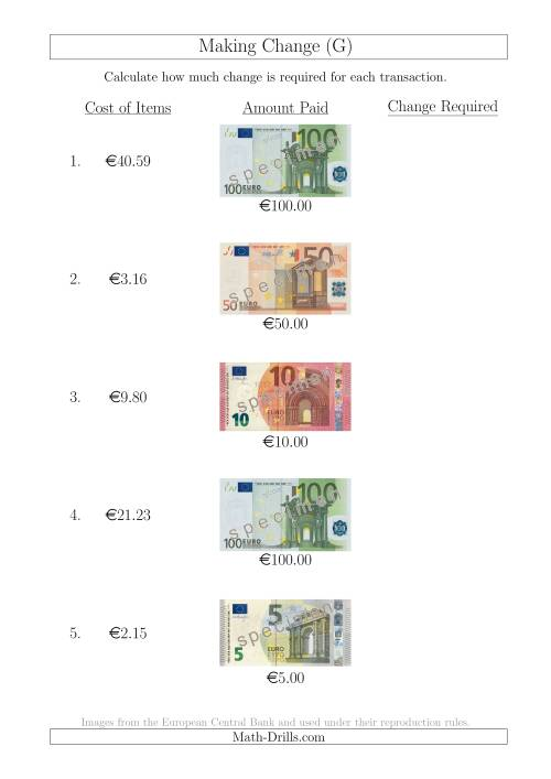 The Making Change from Euro Notes up to €100 (G) Math Worksheet