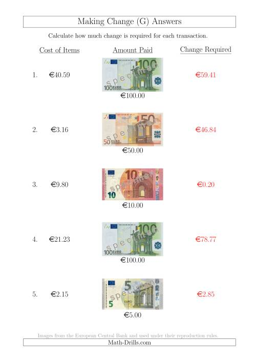 The Making Change from Euro Notes up to €100 (G) Math Worksheet Page 2