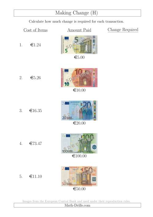 The Making Change from Euro Notes up to €100 (H) Math Worksheet