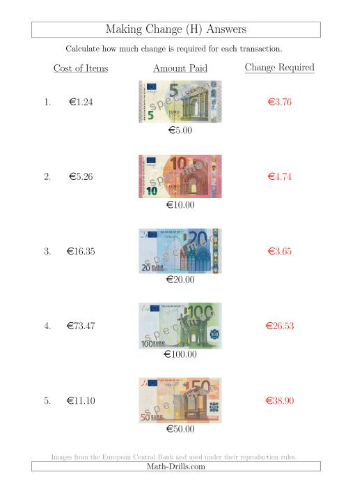 The Making Change from Euro Notes up to €100 (H) Math Worksheet Page 2