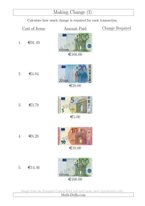 The Making Change from Euro Notes up to €100 (I) Math Worksheet