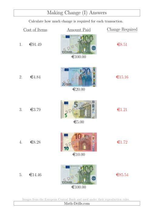 The Making Change from Euro Notes up to €100 (I) Math Worksheet Page 2