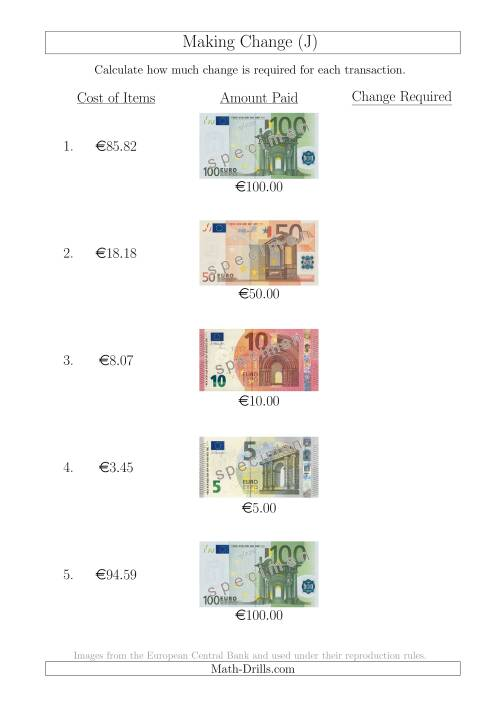 The Making Change from Euro Notes up to €100 (J) Math Worksheet