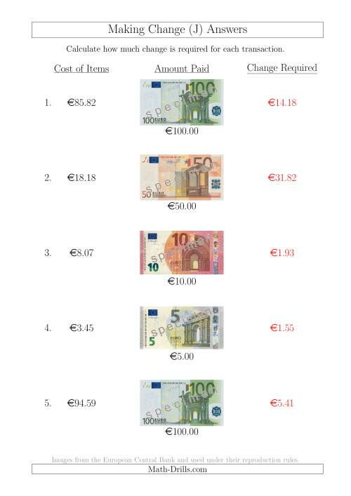 The Making Change from Euro Notes up to €100 (J) Math Worksheet Page 2