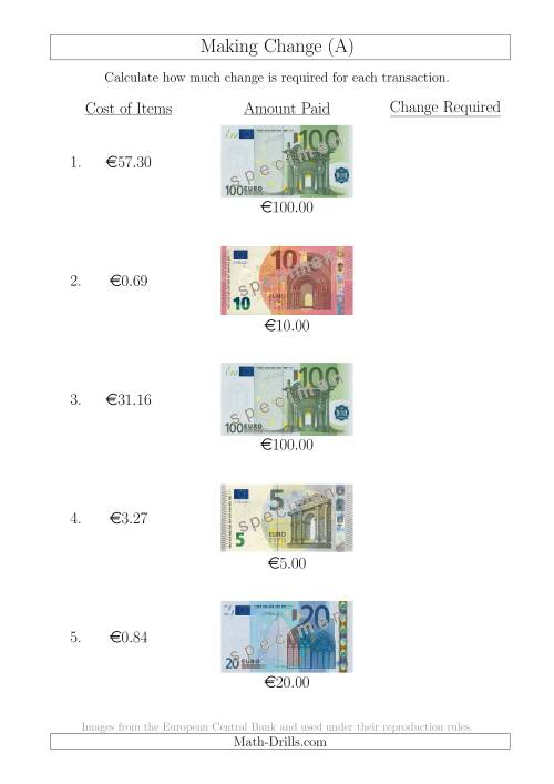 The Making Change from Euro Notes up to €100 (All) Math Worksheet